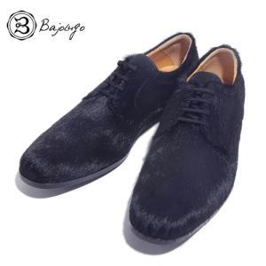 BajoLugo バジョルゴ プレーントゥ シューズ スニーカー カウヘアー 毛付き革 ブラック メンズ|gios-shop