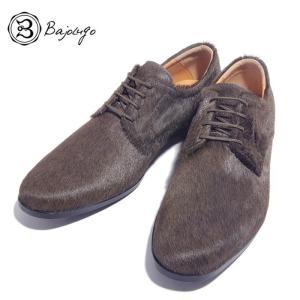 BajoLugo バジョルゴ プレーントゥ シューズ スニーカー カウヘアー 毛付き革 カーキ メンズ|gios-shop