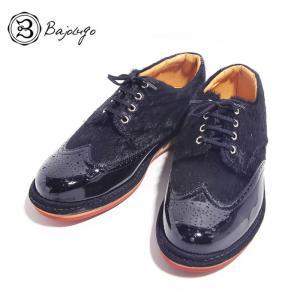 BajoLugo バジョルゴ ウィングチップ スニーカー シューズ ブラック メンズ|gios-shop
