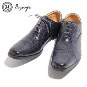 BajoLugo バジョルゴ ストレートチップ スニーカー シューズ ペイズリー 型押し レザー 靴 ネイビー NAVY 紺 本革 メンズ|gios-shop