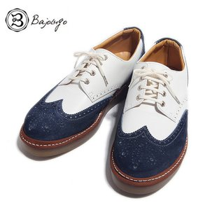 BajoLugo バジョルゴ ウィングチップ シューズ スニーカー ホワイト ネイビー メンズ|gios-shop