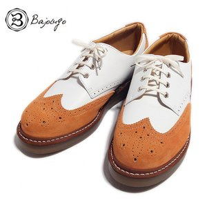 BajoLugo バジョルゴ ウィングチップ シューズ スニーカー ホワイト オレンジ メンズ|gios-shop