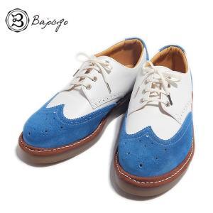 BajoLugo バジョルゴ ウィングチップ シューズ スニーカー ホワイト スカイブルー メンズ|gios-shop