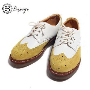 BajoLugo バジョルゴ ウィングチップ シューズ スニーカー ホワイト マスタード メンズ|gios-shop