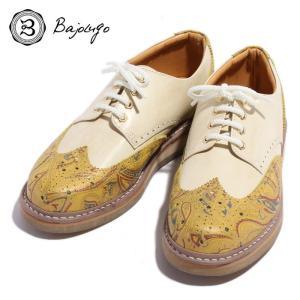 BajoLugo バジョルゴ ウィングチップ 靴 シューズ スニーカー ペイズリー レザー イエロー オフホワイト ナチュラル メンズ|gios-shop
