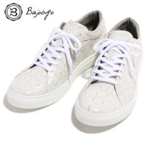 BajoLugo バジョルゴ スニーカー シューズ 背ワニ柄 型押し クロコダイル ワニ レザー 靴 ホワイト 白 メンズ|gios-shop