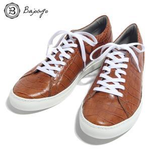 BajoLugo バジョルゴ スニーカー シューズ クロコダイル レザー 靴 ライト ブラウン メンズ|gios-shop