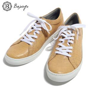 BajoLugo バジョルゴ スニーカー シューズ クロコダイル レザー 靴 クリーム メンズ|gios-shop