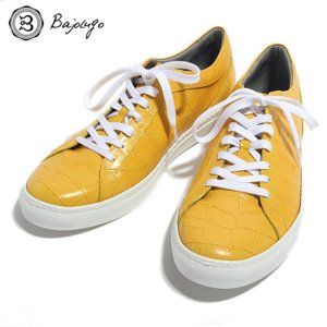 BajoLugo バジョルゴ スニーカー シューズ クロコダイル レザー 靴 イエロー メンズ|gios-shop