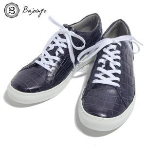 BajoLugo バジョルゴ スニーカー シューズ クロコダイル レザー 靴 ネイビー メンズ|gios-shop