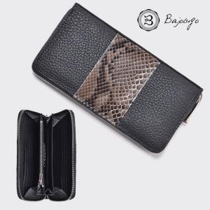 BajoLugo バジョルゴ ラウンドジップウォレット BJLG パイソン レザー ブラック 黒 財布 長財布 日本製 gios-shop
