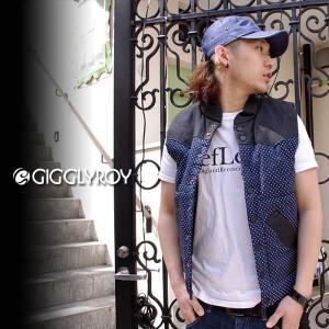 ベスト メンズ 中綿 ドット DOT メンズベスト GIGGLY ROY cdv-044navy|gios-shop