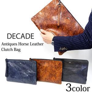 DECADE ディケイド クラッチバッグ クラッチ 本革 レザー バッグ カバン 鞄 ブラック ブラウン ネイビー アンティーク ポーチ メンズ レディース|gios-shop