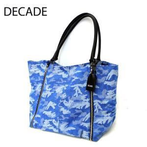 DECADE ディケイド ブランド トートバッグ 迷彩 カモ デニム 本革 レザー バッグ カバン 鞄 ネイビー ブルー メンズ レディース|gios-shop