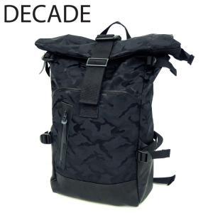 DECADE ディケイド バックパック 本革 レザー バッグ カバン 鞄 リュック ナイロン ブラック 黒 カモ カモフラ カモフラージュ 迷彩 メンズ|gios-shop