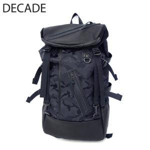 DECADE ディケイド バックパック 本革 レザー バッグ カバン 鞄 リュック ジャガード ナイロン ブラック 黒 カモ カモフラ カモフラージュ 迷彩 メンズ|gios-shop