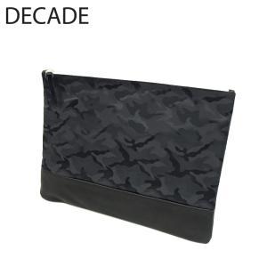 DECADE ディケイド クラッチ バッグ 本革 レザー カバン 鞄 ジャガード 迷彩 カモ カモフラージュ ブラック 黒 メンズ レディース|gios-shop
