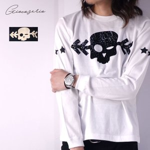 Gioco serio スカル スタッズ 長袖Tシャツ XS S M L LL 3L メンズ|gios-shop