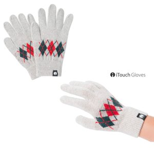 iTouch Gloves アイタッチグローブ PATTERN アーガイル ライトグレー タッチパネル対応 ニット 手袋 S レディース|gios-shop