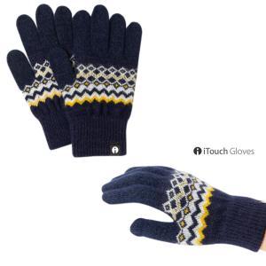 iTouch Gloves アイタッチグローブ PATTERN ノルディック ネイビー×オレンジ タッチパネル対応 ニット 手袋 S レディース|gios-shop