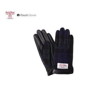 iTouch Gloves アイタッチグローブ HARRIS TWEED ハリスツイード チェック タッチパネル対応 レザー 手袋 S レディース|gios-shop