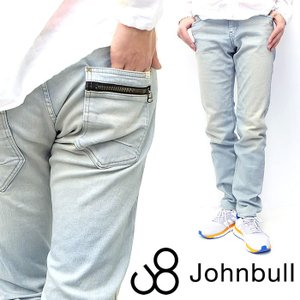 Johnbull ジョンブル デニム パンツ ジーンズ ボトム スリム ストレッチ ロングパンツ ジップポケット インディゴ ブルー|gios-shop