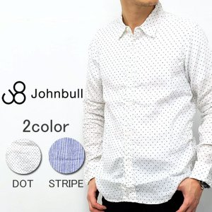 Johnbull ジョンブル 長袖 シャツ リネン 麻 ドット ストライプ ホワイト ブルー ブラック メンズ|gios-shop