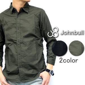 Johnbull ジョンブル 長袖 シャツ 7分 クロップド 無地 オリーブ ブラック メンズ|gios-shop