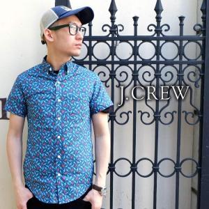 J.CREW Jクルー ジェイクルー シャツ 半袖 総柄 ブルー メンズ|gios-shop