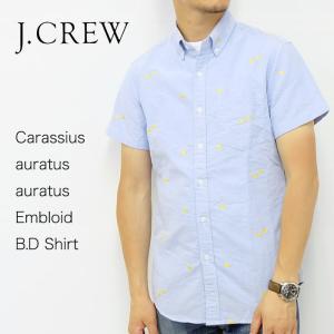 J.CREW Jクルー ジェイクルー シャツ 半袖 総柄 シャンブレー 金魚 ブルー メンズ|gios-shop
