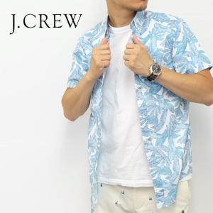 J.CREW Jクルー ジェイクルー シャツ 半袖 総柄 リーフ ミント グリーン ブルー メンズ|gios-shop