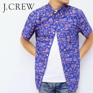 J.CREW Jクルー ジェイクルー シャツ 半袖 総柄 ヨット ネイビー ブルー オレンジ メンズ|gios-shop