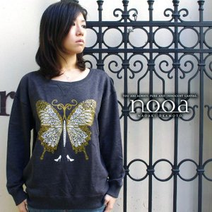 nooa ヌーア レディース スエット 長袖 ダークグレー Butterfly(Dark Gray) 蝶々 バタフライ nooa-ldt-0080dgray gios-shop