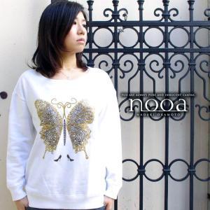 nooa ヌーア レディース スエット 長袖 ホワイト Butterfly(White) 蝶々 バタフライ nooa-ldt-0080wht gios-shop