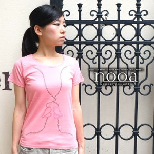 nooa ヌーア レディース アメカジ t-canvas 半袖 Tシャツ ピンク Kiss(White) キス nooa-ldt-0090pink|gios-shop