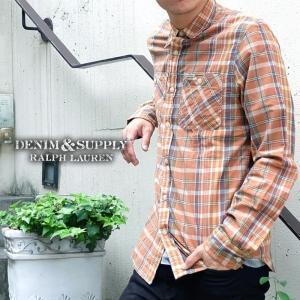 デニムアンドサプライ デニム&サプライ Denim & Supply 長袖 チェック シャツ メンズ ブラウン|gios-shop