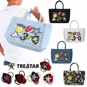 TRESTAR トレスター ワッペン トートバッグ 星 スタッズ Sサイズ メンズ レディース 黒 白 迷彩 デニム|gios-shop