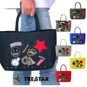 TRE☆STAR TRESTAR トレスター ワッペン トートバッグ 星 スタッズ Sサイズ メンズ レディース 黒 グレー 迷彩 青 赤 黄 デニム|gios-shop