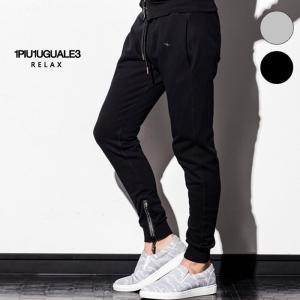 1PIU1UGUALE3 RELAX ウノピゥウノウグァーレトレ リラックス へヴィスウェット ラインストーン付 ジョガーパンツ セットアップ メンズ|gios-shop