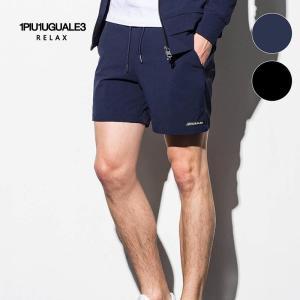 1PIU1UGUALE3 RELAX ウノピゥウノウグァーレトレ リラックス 4WAY ストレッチ ショートパンツ 紺 黒 メンズ|gios-shop