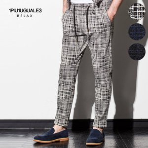 1PIU1UGUALE3 RELAX ウノピゥウノウグァーレトレ リラックス ストレッチジャガードスラックス パンツ ボトムス 白 黒 紺 メンズ|gios-shop