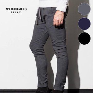 1PIU1UGUALE3 RELAX ウノピゥウノウグァーレトレ リラックス ストレッチ カルゼパンツ チャコール 紺 黒 メンズ|gios-shop