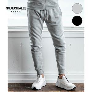 1PIU1UGUALE3 RELAX ウノピゥウノウグァーレトレ リラックス ラインストーン3ロゴジョガーパンツ 黒 グレー メンズ|gios-shop