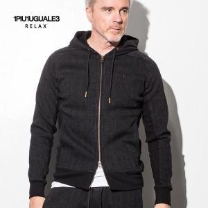 1PIU1UGUALE3 RELAX ウノピゥウノウグァーレトレ リラックス ジャガード ストライプ パーカー 黒 メンズ|gios-shop