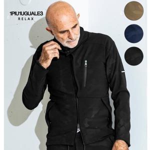 1PIU1UGUALE3 RELAX ウノピゥウノウグァーレトレ リラックス ダブルクロス4WAYストレッチスタンドネックジャケット 黒 カーキ 紺 迷彩 メンズ|gios-shop