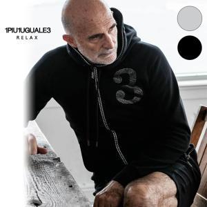 1PIU1UGUALE3 RELAX ウノピゥウノウグァーレトレ リラックス ラインストーン3ロゴパーカ 黒 グレー メンズ|gios-shop