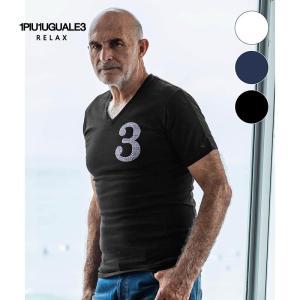 1PIU1UGUALE3 RELAX ウノピゥウノウグァーレトレ リラックス ラインストーン 3 ロゴ Vネック Tシャツ 半袖 メンズ 白 黒 ネイビー|gios-shop