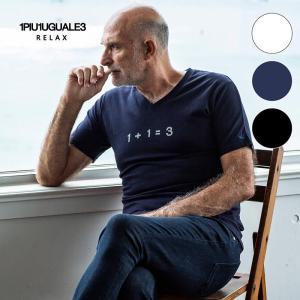 1PIU1UGUALE3 RELAX ウノピゥウノウグァーレトレ リラックス ラインストーン 113 ロゴ Vネック Tシャツ 半袖 メンズ 白 黒 ネイビー|gios-shop