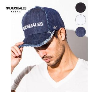 1PIU1UGUALE3 RELAX ウノピゥウノウグァーレトレ リラックス ロゴ刺繍 メッシュキャップ|gios-shop