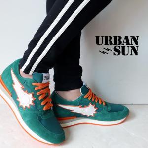 URBAN SUN アーバンサン スニーカー vincent200 ヴィンセント 国内正規品 緑 オレンジ メンズ|gios-shop